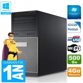 PC Tour DELL 9020 Intel G3220 Ram 4Go Disque 500 Go Graveur DVD Wifi W7