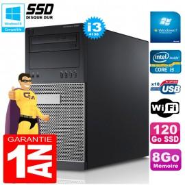 PC Tour DELL 9020 Core I3-4130 Ram 8Go Disque 120 Go SSD Graveur DVD Wifi W7