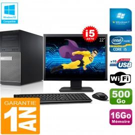 """PC Tour DELL 9020 Core I5-4570 Ram 16Go Disque 500 Go Wifi W7 Ecran 22"""""""