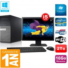 """PC Tour DELL 9020 Core I5-4570 Ram 16Go Disque 2 To Wifi W7 Ecran 22"""""""