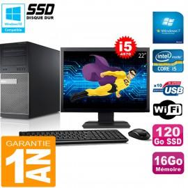 """PC Tour DELL 9020 Core I5-4570 Ram 16Go Disque 120 Go SSD Wifi W7 Ecran 22"""""""