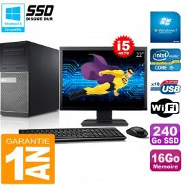 """PC Tour DELL 9020 Core I5-4570 Ram 16Go Disque 240 Go SSD Wifi W7 Ecran 22"""""""