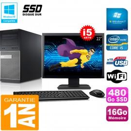 """PC Tour DELL 9020 Core I5-4570 Ram 16Go Disque 480 Go SSD Wifi W7 Ecran 22"""""""