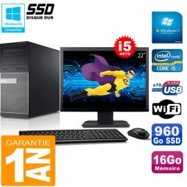 """PC Tour DELL 9020 Core I5-4570 Ram 16Go Disque 960 Go SSD Wifi W7 Ecran 22"""""""