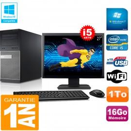 """PC Tour DELL 9020 Core I5-4570 Ram 16Go Disque 1 To Wifi W7 Ecran 27"""""""