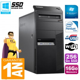 PC Tour Lenovo ThinkCentre M83 Intel G3250 16Go 256Go SSD Graveur DVD Wifi Win 7