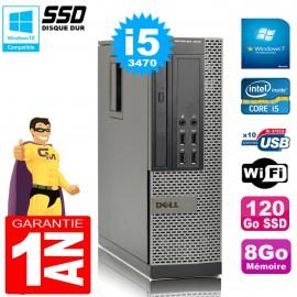 PC DELL 7010 SFF Core I5-3470 Ram 8Go Disque 120Go SSD Graveur Wifi W7