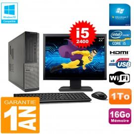 """PC DELL 3010 DT Core I5-2400 Ram 16Go Disque 1 To Wifi W7 Ecran 22"""""""