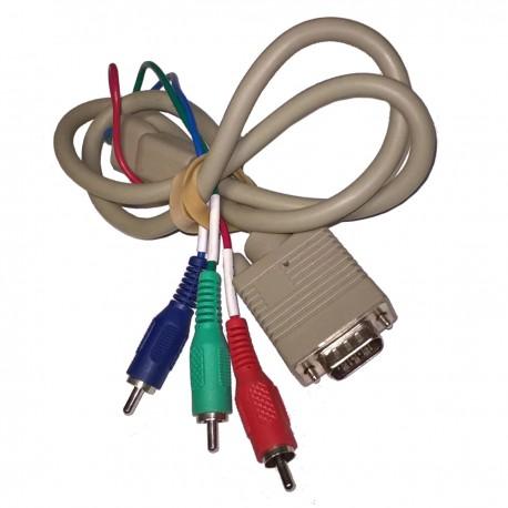 Câble Adaptateur Vidéo Externe VGA Femelle vers 3x RCA Mâle 80cm Beige