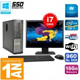"""PC DELL 990 SFF Core I7-2600 Ram 16Go Disque 960Go SSD Graveur Wifi W7 Ecran 27"""""""