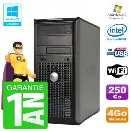 PC DELL 755 Tour Intel E5200 RAM 4Go Disque 250Go Graveur DVD Wifi W7