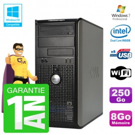 PC DELL 755 Tour Intel E5200 RAM 8Go Disque 250Go Graveur DVD Wifi W7