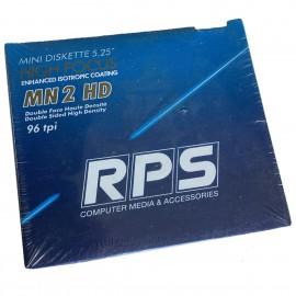 "Lot x10 Mini Disquettes 5.25"" RPS MN 2 HD HIGH FOCUS 96 tpi Haute Densité NEUF"