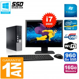 """Mini PC Dell 790 Ultra USFF Ecran 27"""" Core I7-2600 16Go 960Go SSD Wifi W7"""