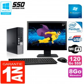 """Mini PC Dell 790 Ultra USFF Ecran 22"""" Intel G630 8Go 120Go SSD Wifi W7"""