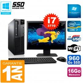"""PC Lenovo M92p SFF Ecran 27"""" Core I7-3770 16Go Disque 960Go SSD Wifi W7"""