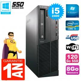 PC Lenovo M91p 7005 SFF Core I5-2400 8Go Disque 120Go SSD Graveur DVD Wifi W7