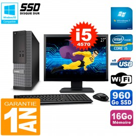 """PC DELL 3020 SFF Ecran 27"""" Core I5-4570 RAM 16Go Disque 960 Go SSD Wifi W7"""