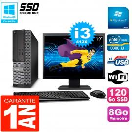"""PC DELL 3020 SFF Ecran 19"""" Core I3-4130 RAM 8Go Disque Dur 120 Go SSD Wifi W7"""