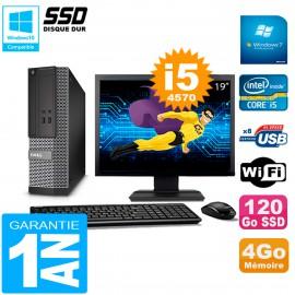 """PC DELL 3020 SFF Ecran 19"""" Core I5-4570 RAM 4Go Disque Dur 120 Go SSD Wifi W7"""