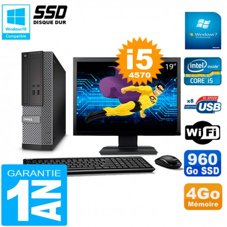 """PC DELL 3020 SFF Ecran 19"""" Core I5-4570 RAM 4Go Disque Dur 960 Go SSD Wifi W7"""