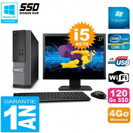 """PC DELL 3020 SFF Ecran 27"""" Core I5-4570 RAM 4Go Disque Dur 120 Go SSD Wifi W7"""