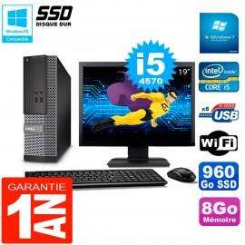 """PC DELL 3020 SFF Ecran 19"""" Core I5-4570 RAM 8Go Disque Dur 960 Go SSD Wifi W7"""