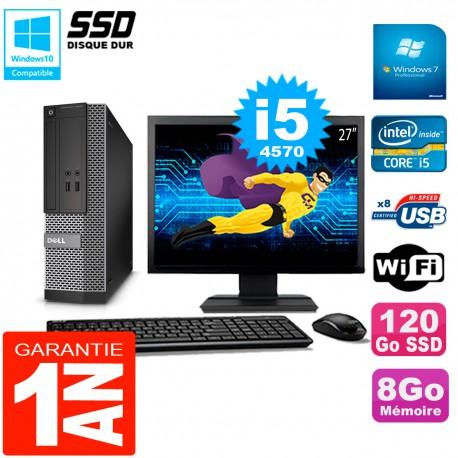 """PC DELL 3020 SFF Ecran 27"""" Core I5-4570 RAM 8Go Disque Dur 120 Go SSD Wifi W7"""
