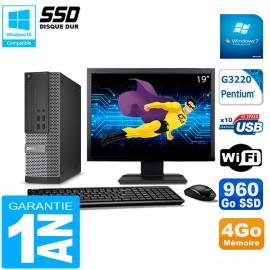 """PC DELL 7020 SFF Ecran 19"""" Intel G3220 RAM 4Go Disque Dur 960 Go SSD Wifi W7"""