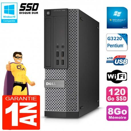 PC DELL 7020 SFF Intel G3220 RAM 8Go Disque Dur 120 Go SSD Graveur DVD Wifi W7