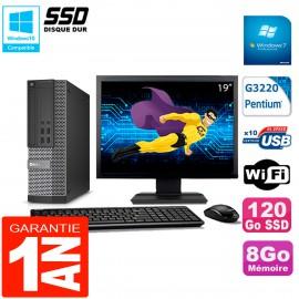 """PC DELL 7020 SFF Ecran 19"""" Intel G3220 RAM 8Go Disque Dur 120 Go SSD Wifi W7"""