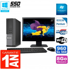 """PC DELL 7020 SFF Ecran 22"""" Intel G3220 RAM 8Go Disque Dur 960 Go SSD Wifi W7"""