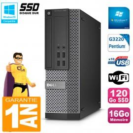 PC DELL 7020 SFF Intel G3220 RAM 16Go Disque Dur 120 Go SSD Graveur DVD Wifi W7