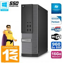 PC DELL 7020 SFF Intel G3220 RAM 16Go Disque Dur 960 Go SSD Graveur DVD Wifi W7