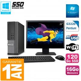 """PC DELL 7020 SFF Ecran 22"""" Intel G3220 RAM 16Go Disque Dur 120 Go SSD Wifi W7"""