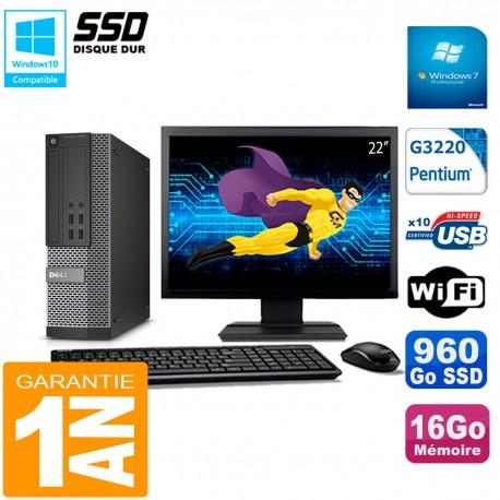 """PC DELL 7020 SFF Ecran 22"""" Intel G3220 RAM 16Go Disque Dur 960 Go SSD Wifi W7"""