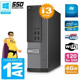 PC DELL 7020 SFF Core I3-4130 RAM 4Go Disque Dur 120 Go SSD Graveur DVD Wifi W7