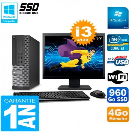 """PC DELL 7020 SFF Ecran 19"""" Core I3-4130 RAM 4Go Disque Dur 960 Go SSD Wifi W7"""