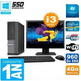 """PC DELL 7020 SFF Ecran 27"""" Core I3-4130 RAM 4Go Disque Dur 960 Go SSD Wifi W7"""