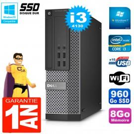 PC DELL 7020 SFF Core I3-4130 RAM 8Go Disque Dur 960 Go SSD Graveur DVD Wifi W7