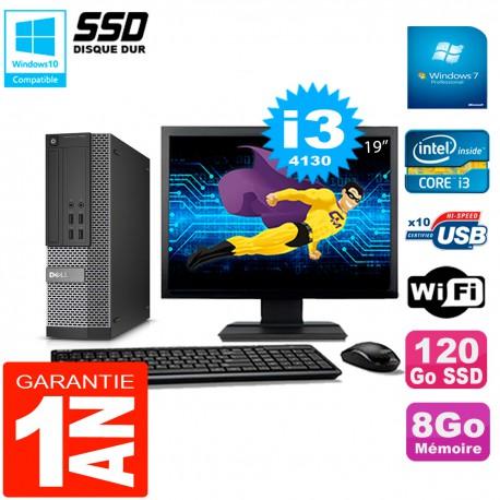 """PC DELL 7020 SFF Ecran 19"""" Core I3-4130 RAM 8Go Disque Dur 120 Go SSD Wifi W7"""