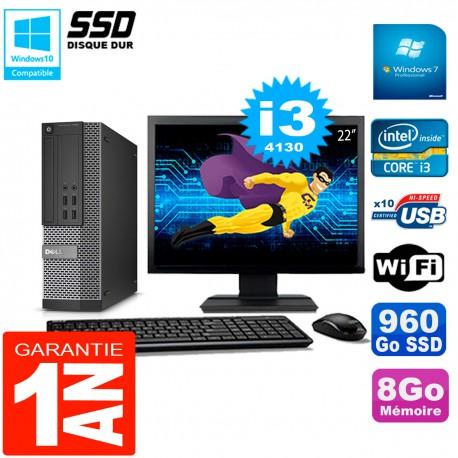 """PC DELL 7020 SFF Ecran 22"""" Core I3-4130 RAM 8Go Disque Dur 960 Go SSD Wifi W7"""