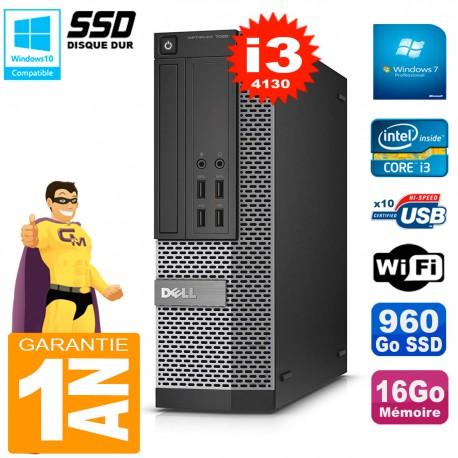 PC DELL 7020 SFF Core I3-4130 RAM 16Go Disque Dur 960 Go SSD Graveur DVD Wifi W7