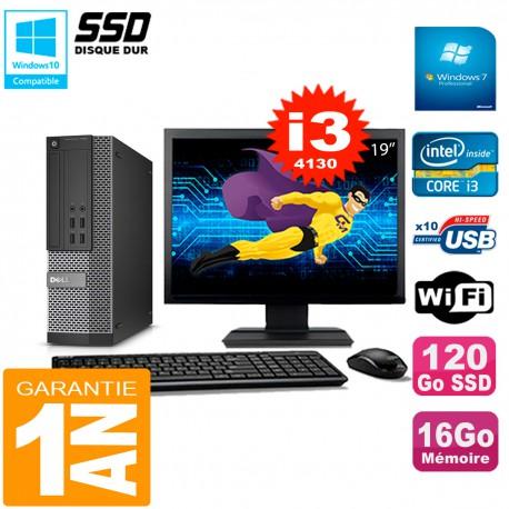 """PC DELL 7020 SFF Ecran 19"""" Core I3-4130 RAM 16Go Disque Dur 120 Go SSD Wifi W7"""