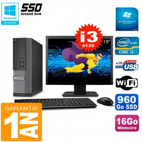 """PC DELL 7020 SFF Ecran 19"""" Core I3-4130 RAM 16Go Disque Dur 960 Go SSD Wifi W7"""