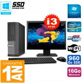 """PC DELL 7020 SFF Ecran 22"""" Core I3-4130 RAM 16Go Disque Dur 960 Go SSD Wifi W7"""