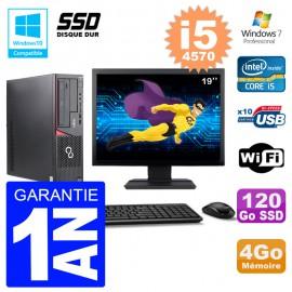 PC Fujitsu Esprimo E720 E85+ DT Ecran 19'' i5-4570 RAM 4Go 120 Go SSD Wifi W7