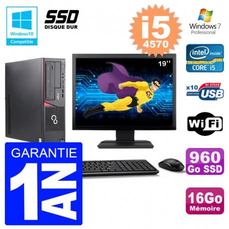 PC Fujitsu Esprimo E720 E85+ DT Ecran 19'' i5-4570 RAM 16Go 960 Go SSD Wifi W7