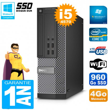 PC DELL 7020 SFF Core I5-4570 RAM 4Go Disque Dur 960 Go SSD Graveur DVD Wifi W7