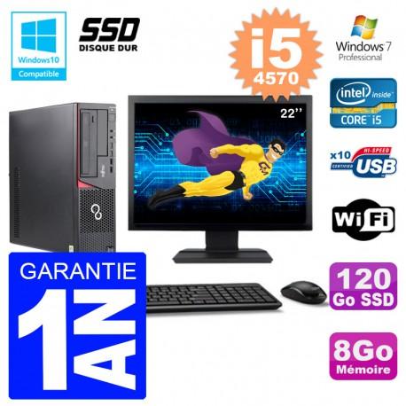 PC Fujitsu Esprimo E720 E85+ DT Ecran 22'' i5-4570 RAM 8Go 120 Go SSD Wifi W7